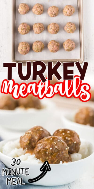 Collage of baked turkey meatball photos for Pinterest