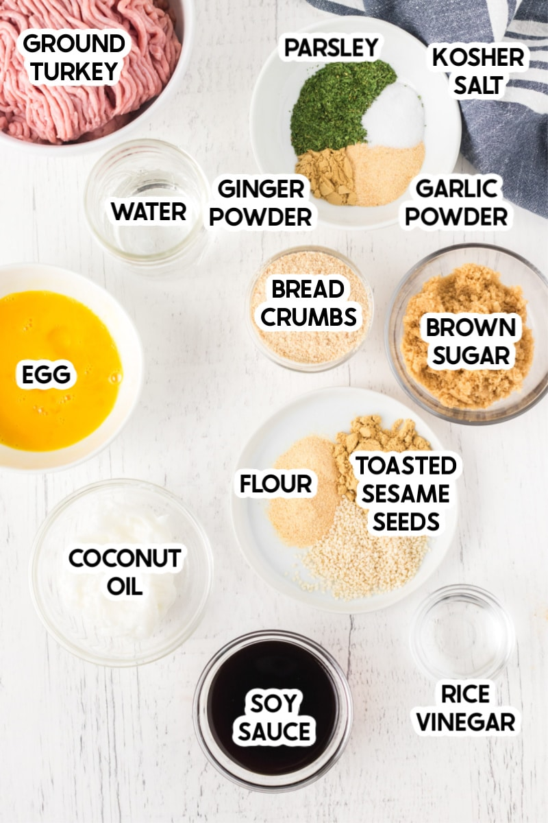 Ingredients for baked turkey meatballs with labels