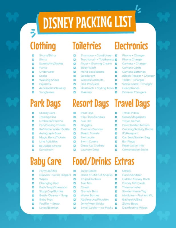Disney packing list with a blue background