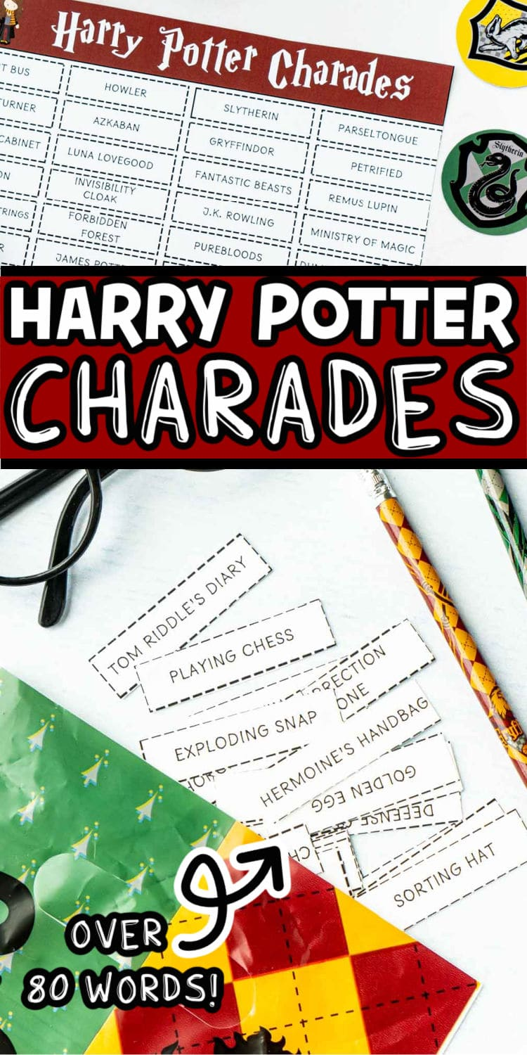 Harry Potter charades word list with text for Pinterest