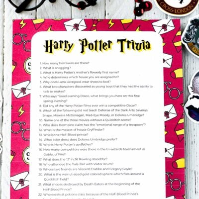 Free Printable Harry Potter Trivia Questions