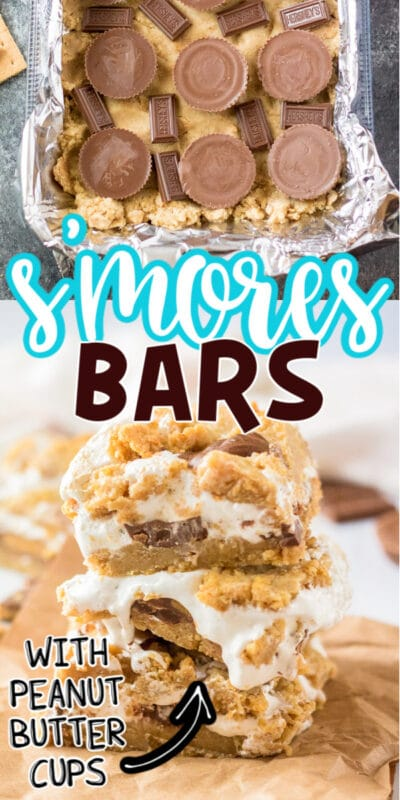 Collage of smore bars with text for Pinterest