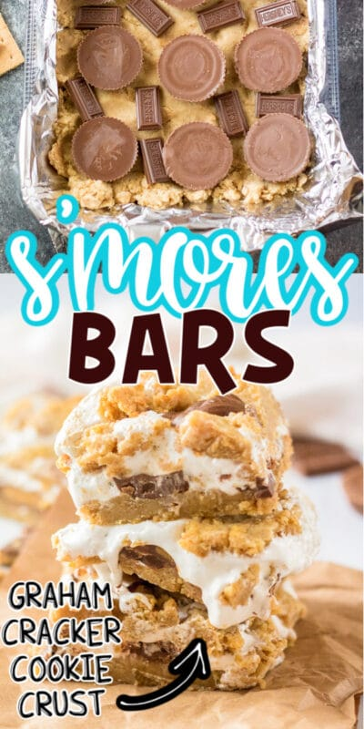 Pan of s'mores bars with text for Pinterest
