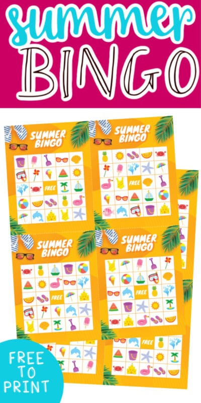 summer bingo cards with text for Pinterest
