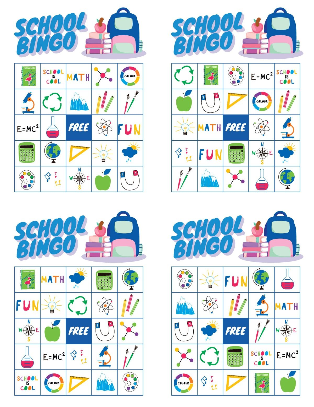 Four white school bingo cards with school images on them