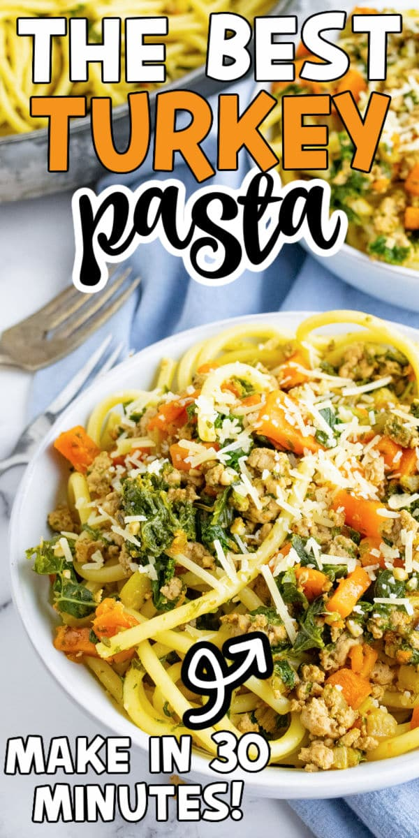 Bowl of ground turkey pasta with text for Pinterest