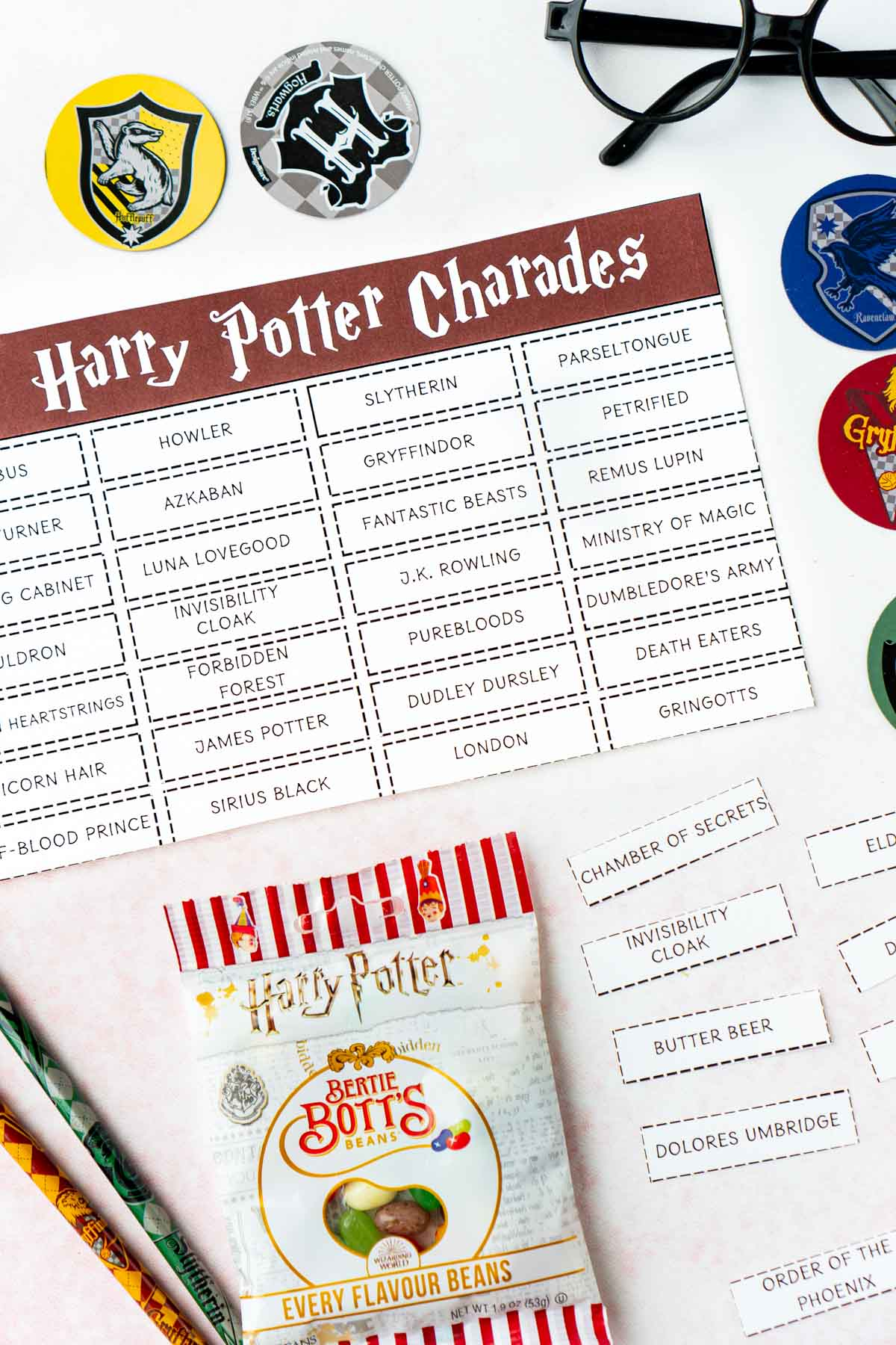 Harry Potter charades words with Harry Potter jelly beans and pencils