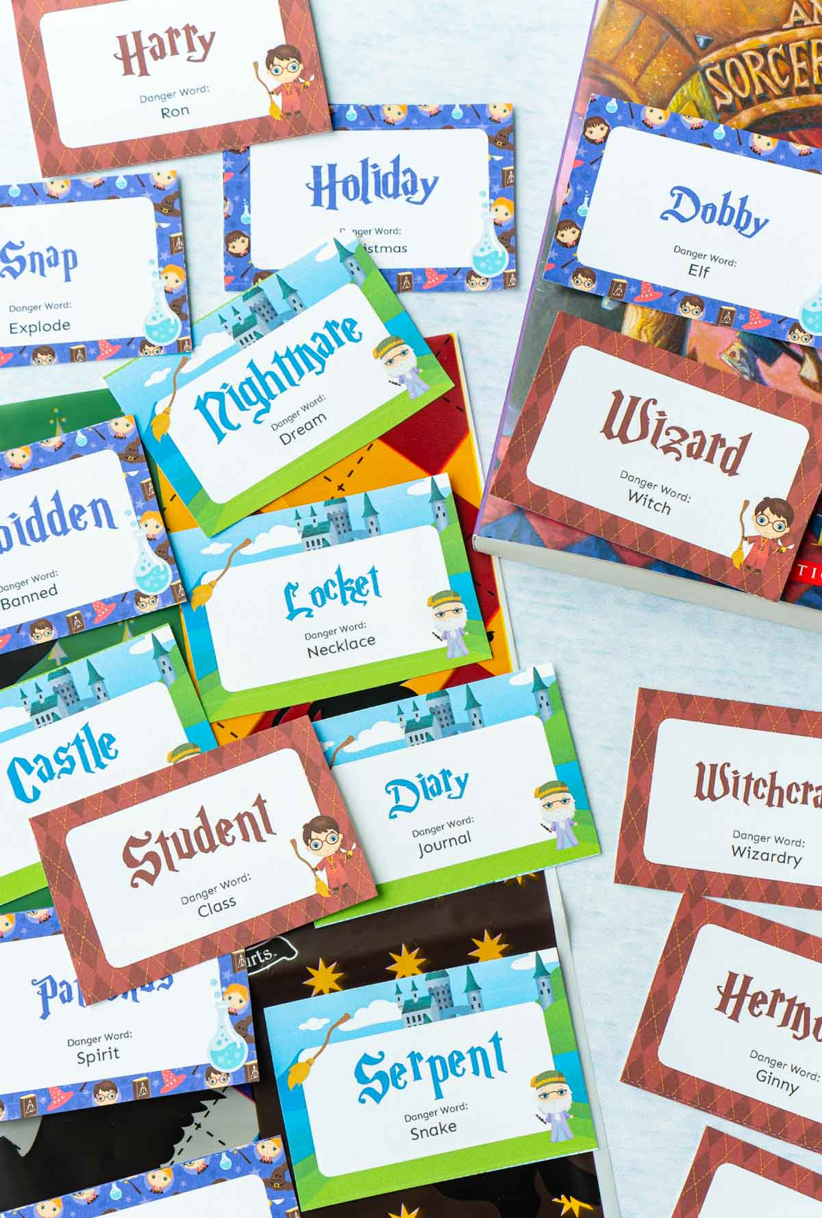 Little cards with Harry Potter words on them for a Harry Potter danger word game