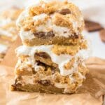 Close up shot of smore bars on a brown paper napkin