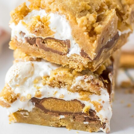 Very close photo of two smore bars stacked on top of each other