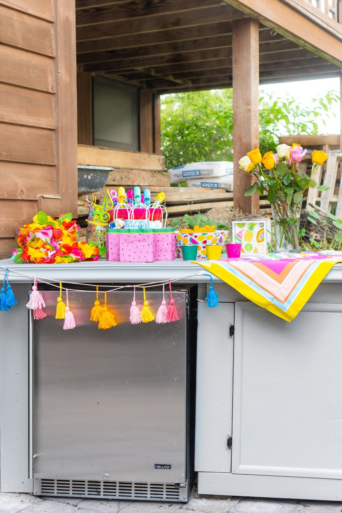 Summer party setup on an outdoor counter