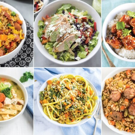 A collage of images of dinners in white bowls