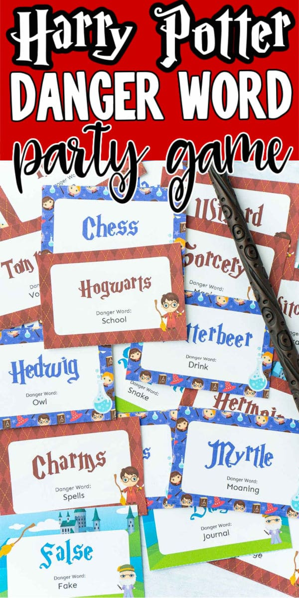A bunch of little cards with Harry Potter words on them and text for Pinterest