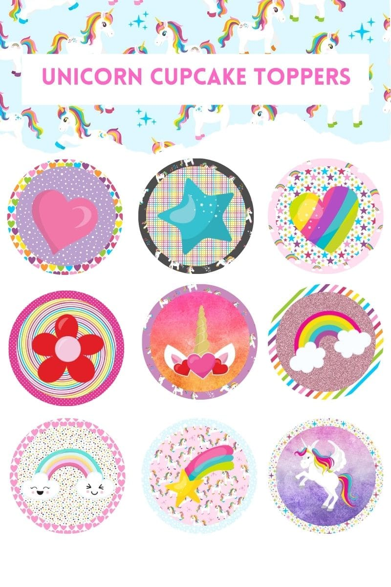 Nine different colorful unicorn cupcake toppers