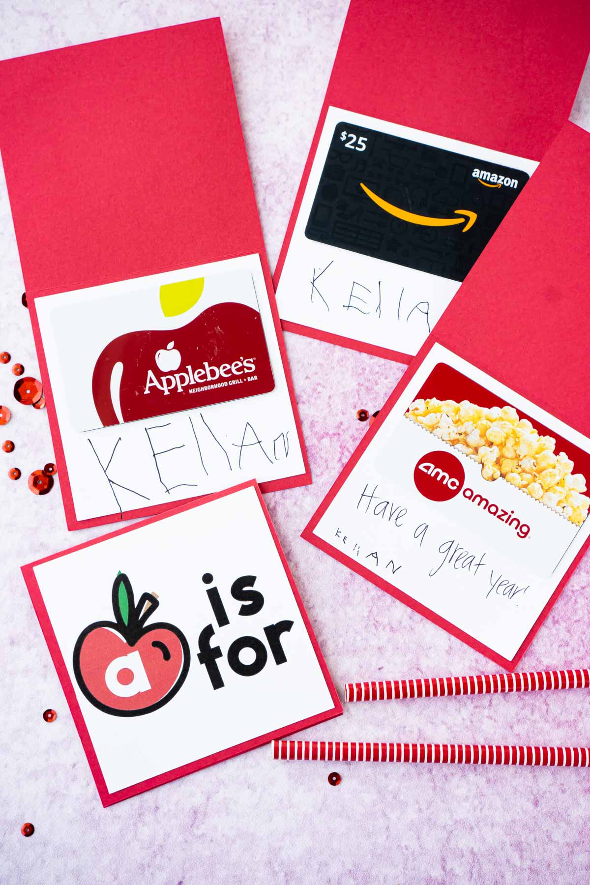 Back to school teacher gift cards in red apple cards