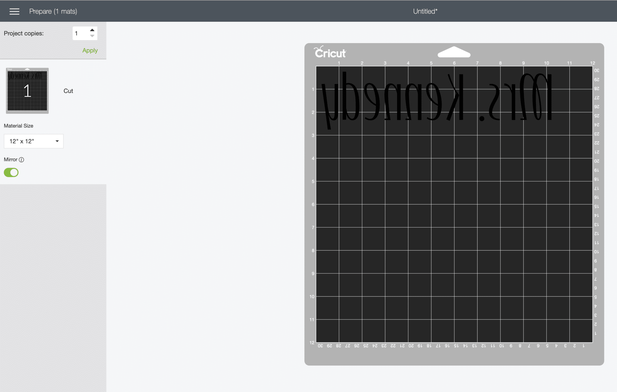 Screenshot of Cricut Design Space showing the mirror option