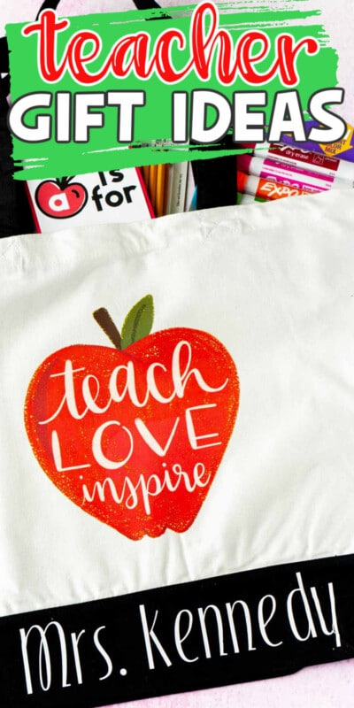 A tote bag with an apple and text for Pinterest
