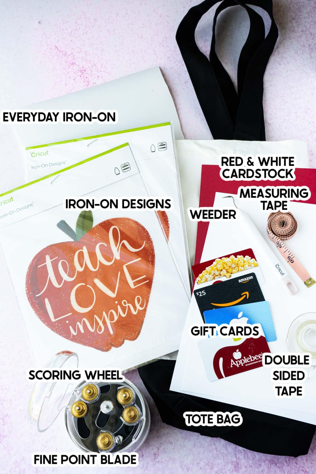 A bunch of Cricut supplies and gift cards with labels