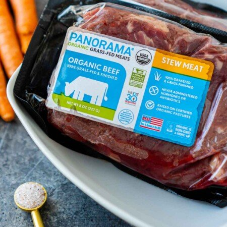 Package of Panorama grass-fed beef stew meat