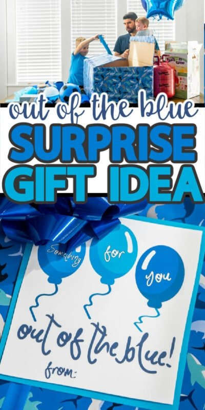An out of the blue gift tag and people putting blue items in a box