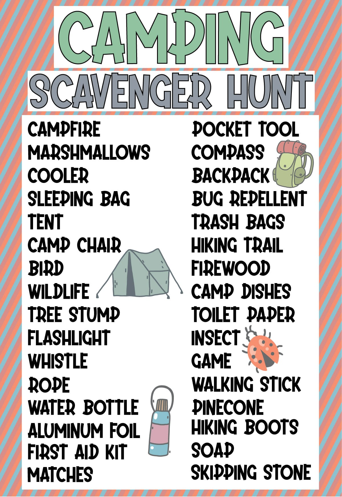 Camping scavenger hunt list with a diagonal striped background