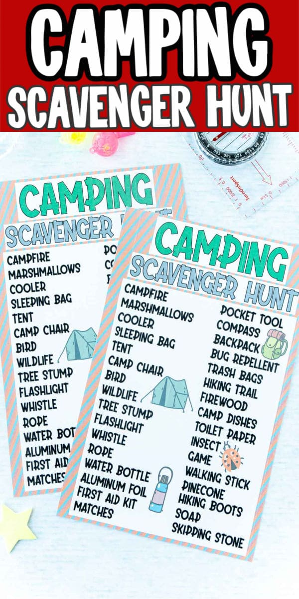 Two camping scavenger hunts with plastic props and text for Pinterest