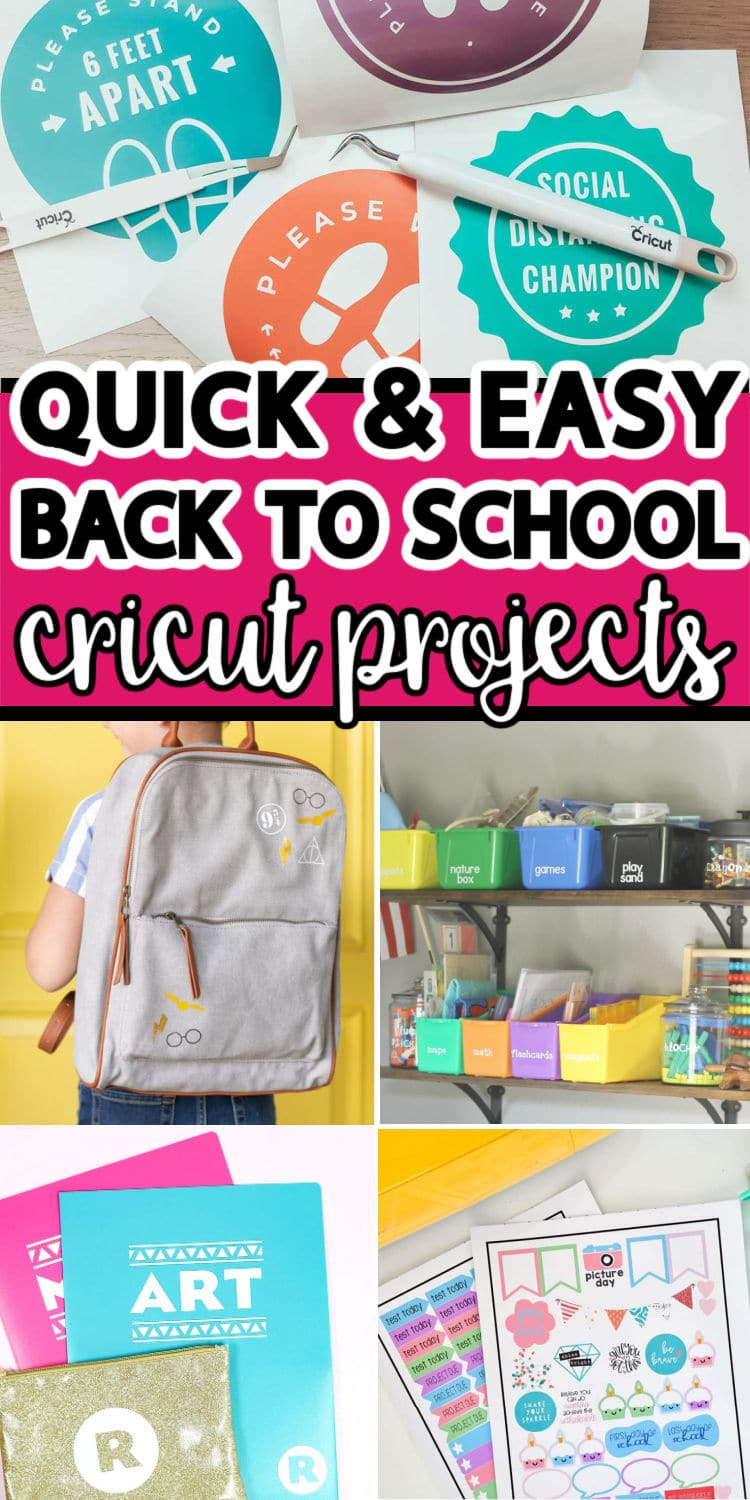 A collage of back to school projects made with Cricut