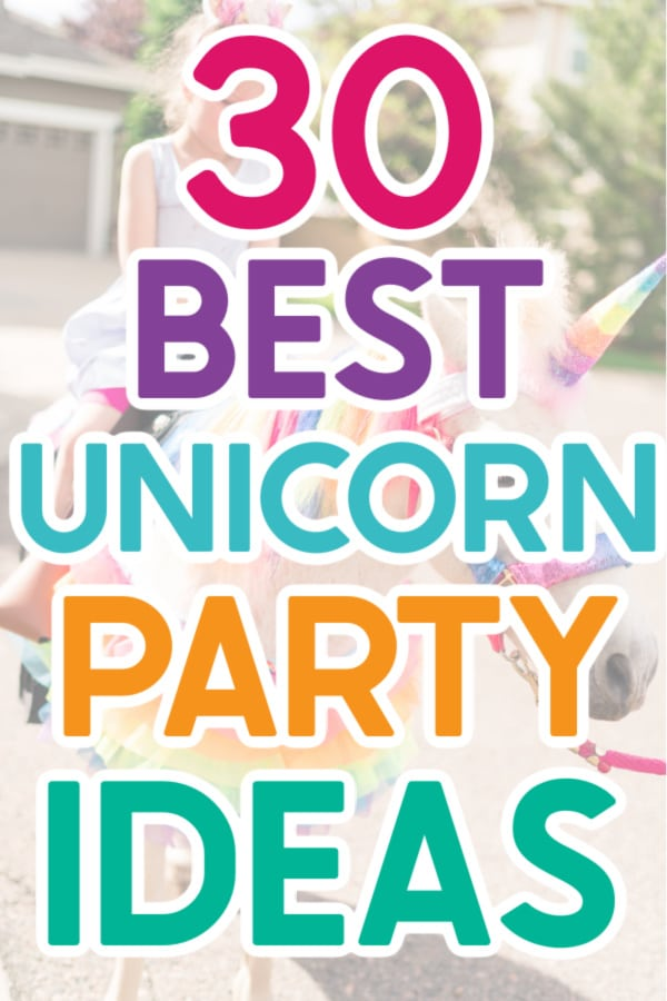 A girl on a unicorn with colorful text for Pinterest