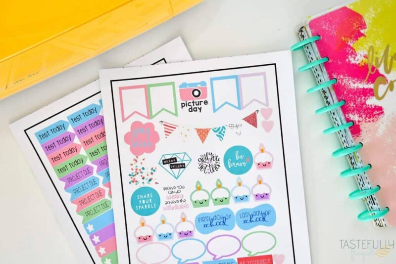 Two sheets of colorful planner stickers for kids