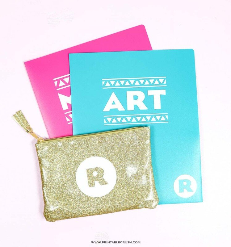 Pink blue and gold personalized school supplies