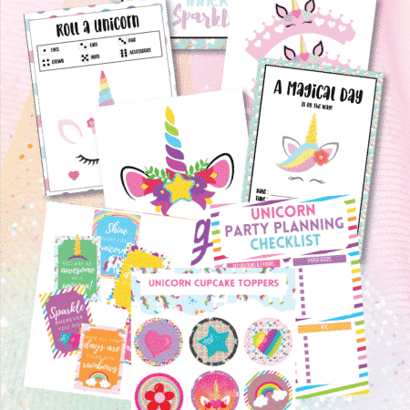 Variety of unicorn party printables and other images