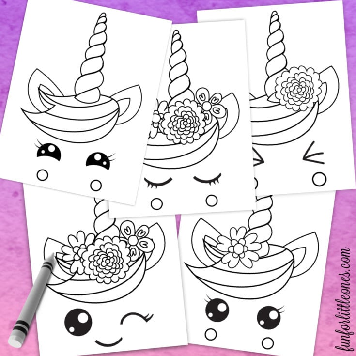 Five white unicorn coloring pages on a pink background