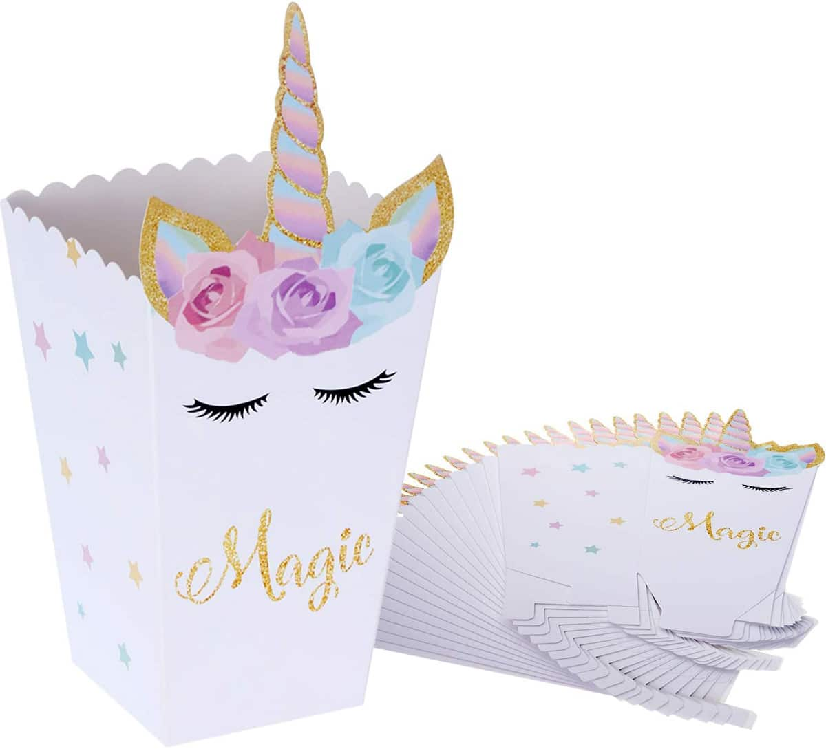 White unicorn decorated popcorn box