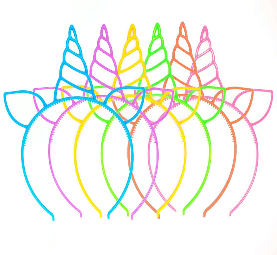 Five different colored plastic unicorn headbands