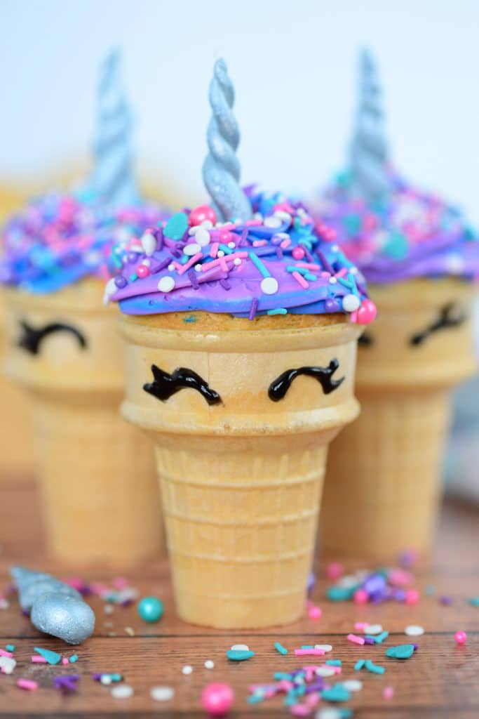 Ice cream cones decorated to look like unicorns