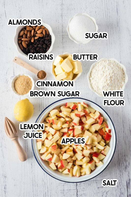 A bowl of apples with other ingredients and text labels
