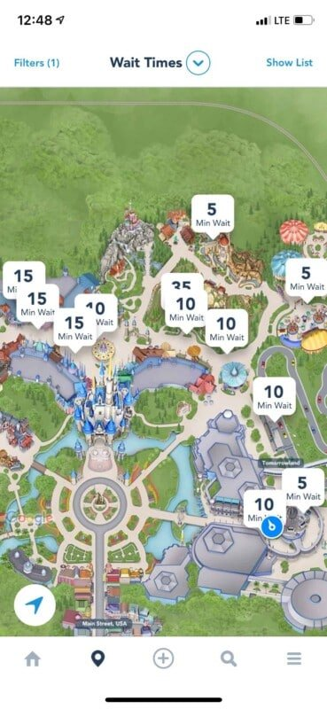Magic Kingdom map with line wait times on top
