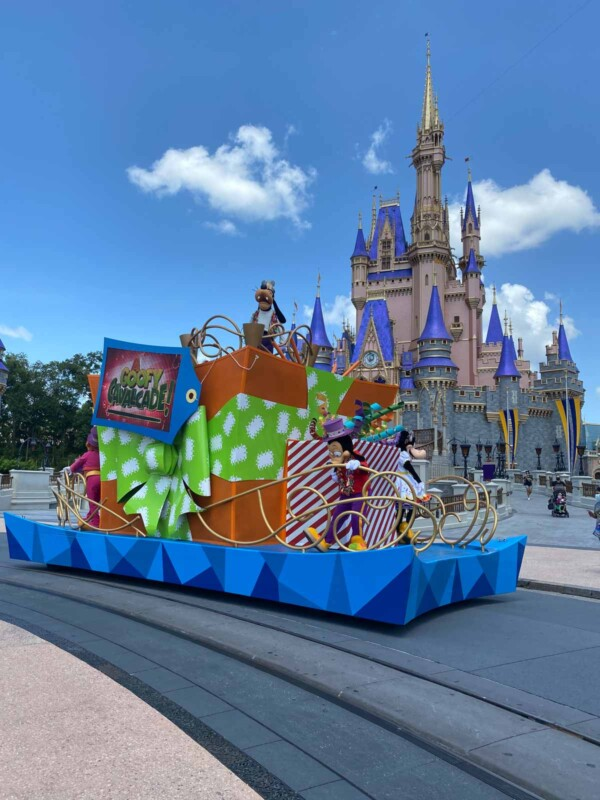 Disney characters on a parade float