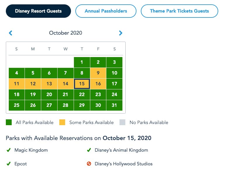 Screenshot of Disney World park pass website