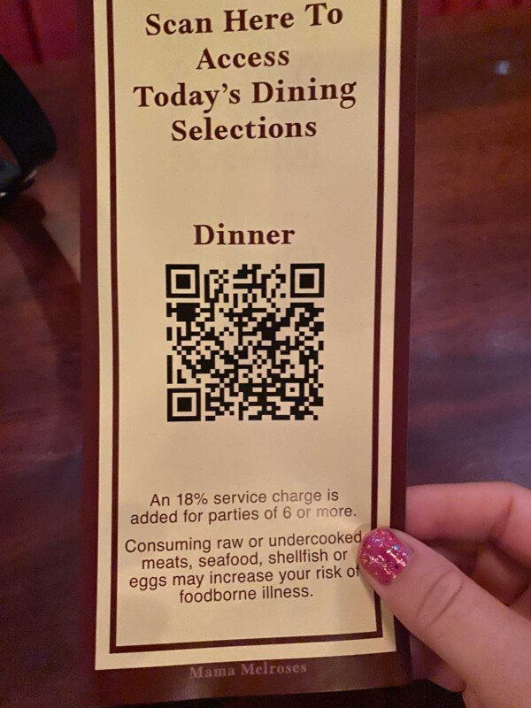 Flyer with a QR code for ordering food