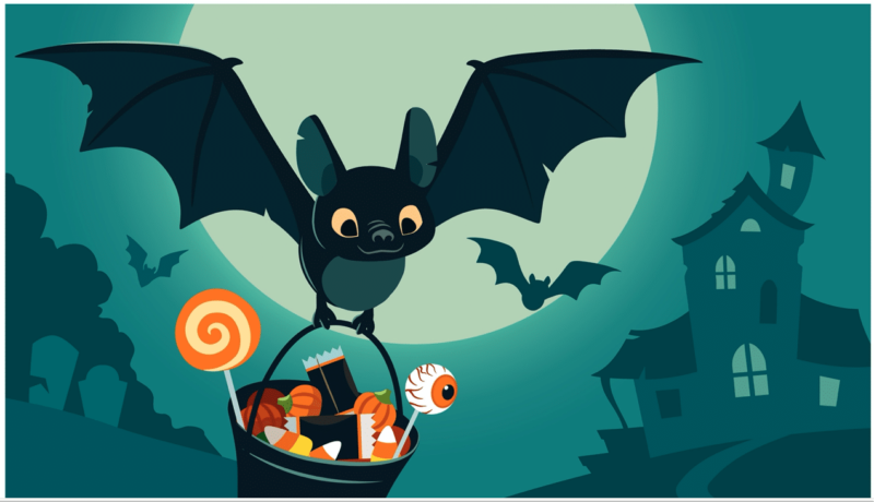 A photo of a bat holding a basket of candy with a haunted house in the background