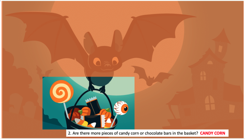 Orange transparent image on top of a bat holding a bucket of candy