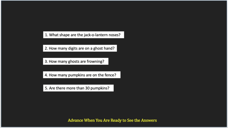 Black PowerPoint slide with white text with questions