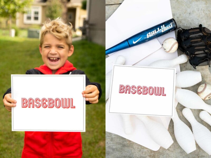 A kid holding a sign that says basebowl and baseball equipment