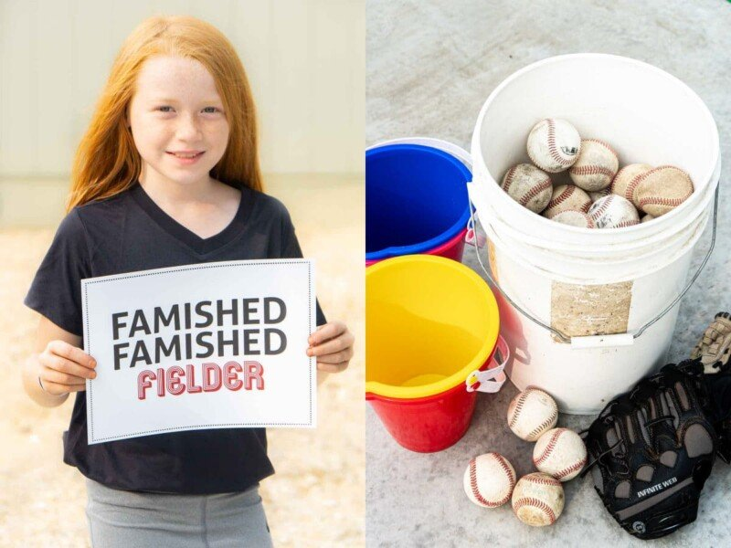 Girl holding a sign that says famished famished fielder
