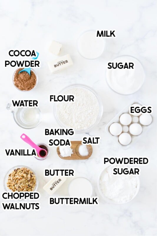 Baking ingredients for chocolate brownie cake with labels