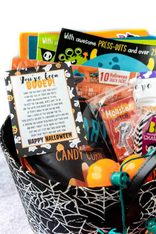 Spiderweb basket filled with Halloween books, games, and a you've been booed sign