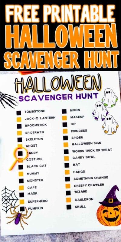 Free Printable Neighborhood Halloween Scavenger Hunt