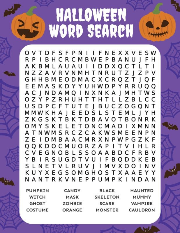 Printed Halloween word search with an orange magnifying glass