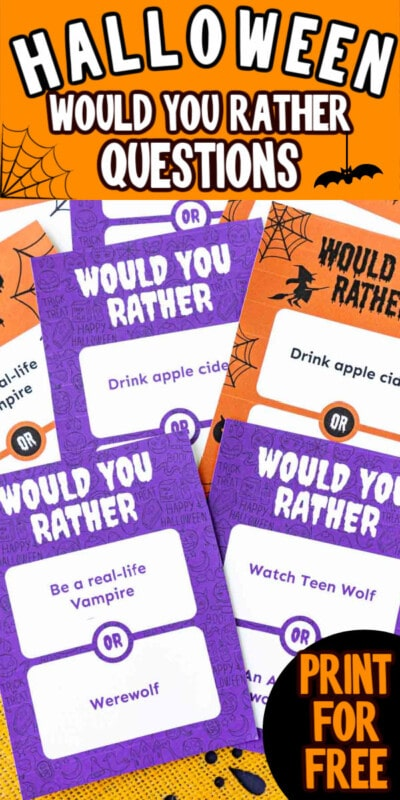 Pile of Halloween would you rather question cards with text for Pinterest